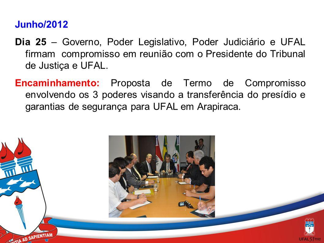 Junho/2012 Dia 25 – Governo, Poder Legislativo, Poder Judiciário e UFAL firmam compromisso em reunião com o Presidente do Tribunal de Justiça e UFAL.