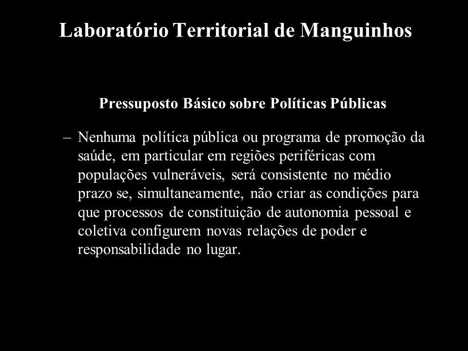 Laboratório Territorial de Manguinhos Pressuposto Básico sobre Políticas Públicas –Nenhuma política pública ou programa de promoção da saúde, em parti