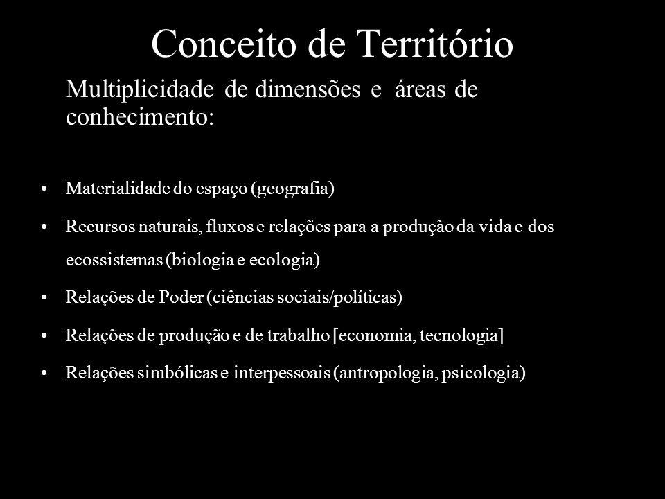Conceito de Território Multiplicidade de dimensões e áreas de conhecimento: Materialidade do espaço (geografia) Recursos naturais, fluxos e relações p