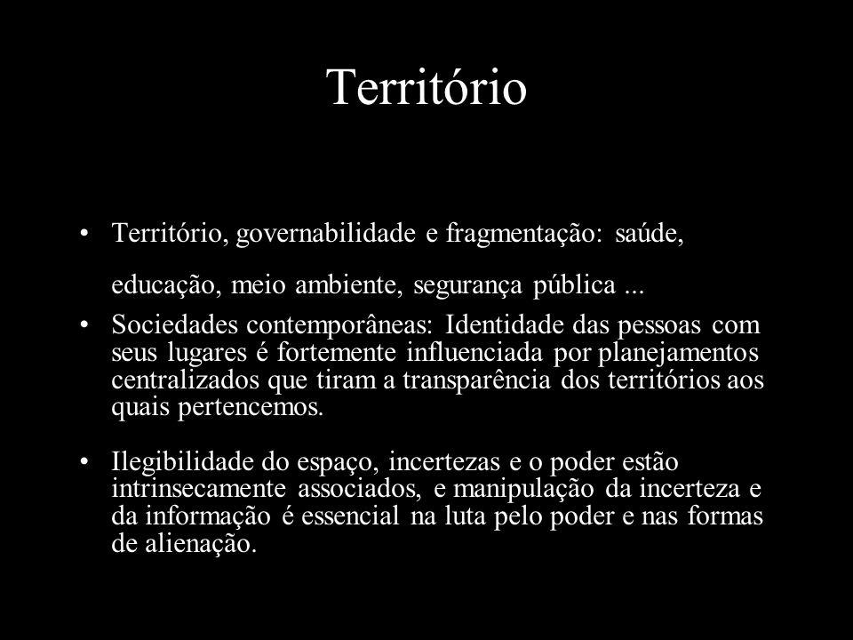 Território Território, governabilidade e fragmentação: saúde, educação, meio ambiente, segurança pública...