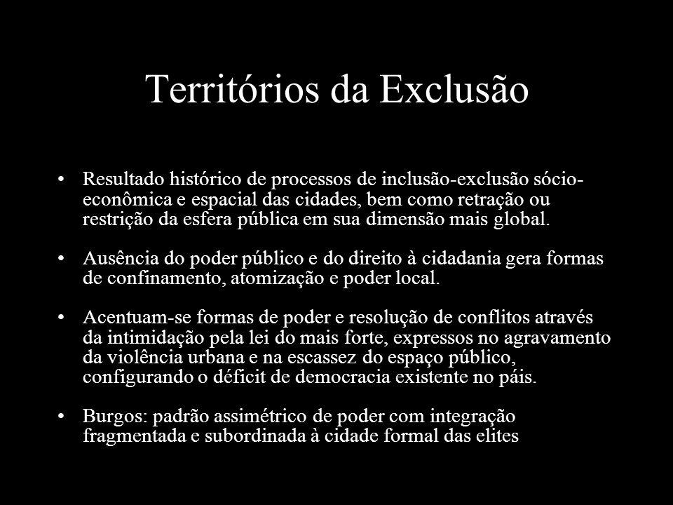 Territórios da Exclusão Resultado histórico de processos de inclusão-exclusão sócio- econômica e espacial das cidades, bem como retração ou restrição da esfera pública em sua dimensão mais global.