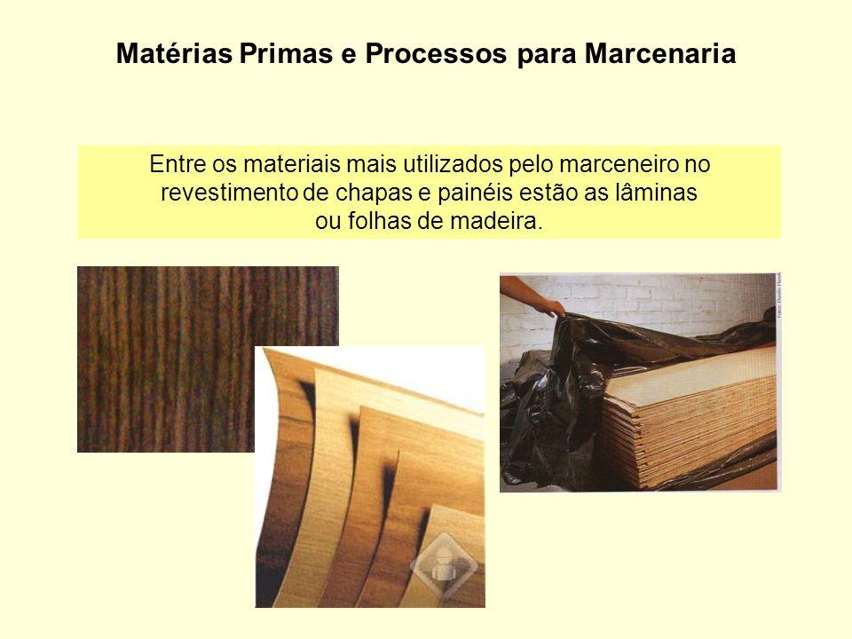 Matérias Primas e Processos para Marcenaria Entre os materiais mais utilizados pelo marceneiro no revestimento de chapas e painéis estão as lâminas ou
