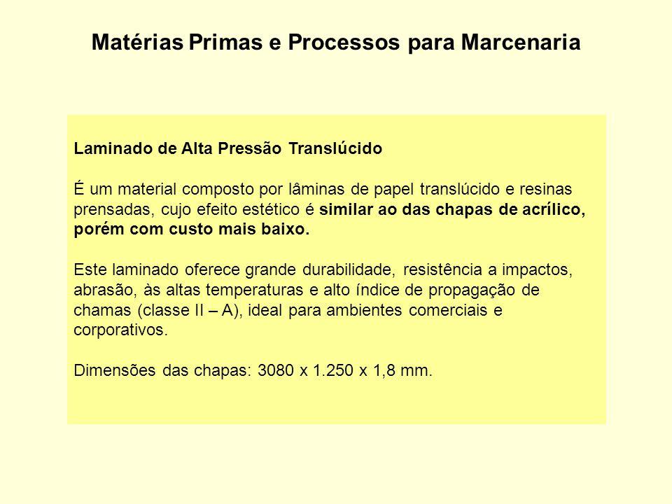 Matérias Primas e Processos para Marcenaria Laminado de Alta Pressão Translúcido É um material composto por lâminas de papel translúcido e resinas pre