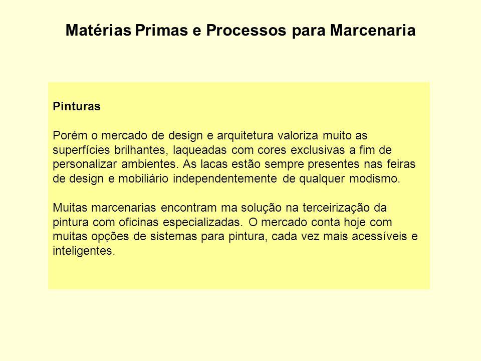 Matérias Primas e Processos para Marcenaria Pinturas Porém o mercado de design e arquitetura valoriza muito as superfícies brilhantes, laqueadas com c
