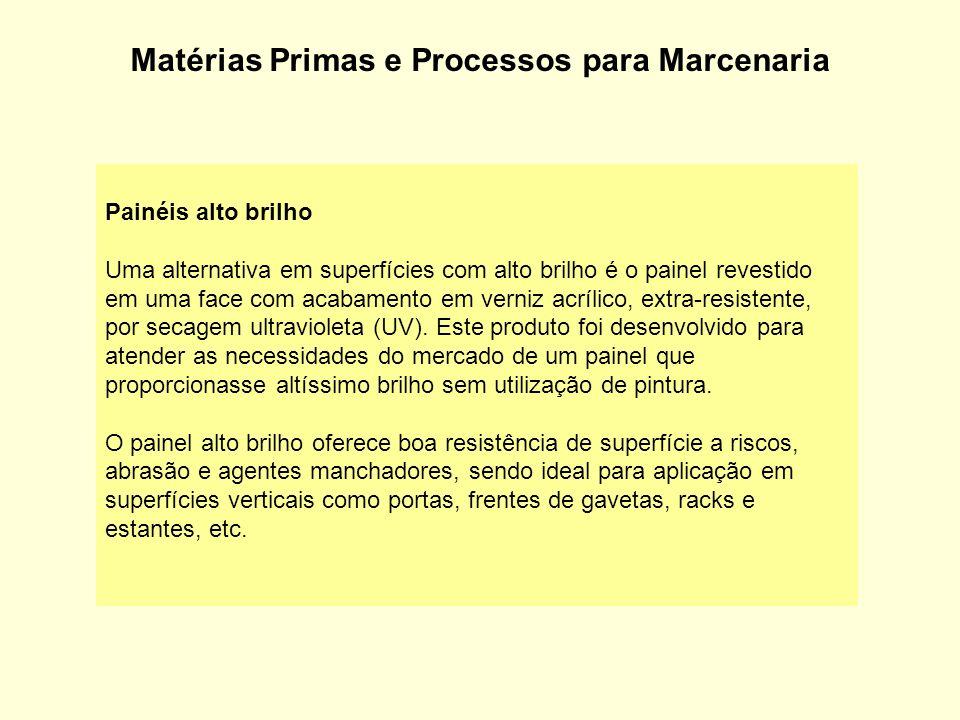 Matérias Primas e Processos para Marcenaria Painéis alto brilho Uma alternativa em superfícies com alto brilho é o painel revestido em uma face com ac