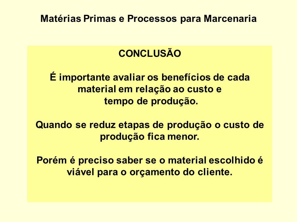 Matérias Primas e Processos para Marcenaria CONCLUSÃO É importante avaliar os benefícios de cada material em relação ao custo e tempo de produção. Qua