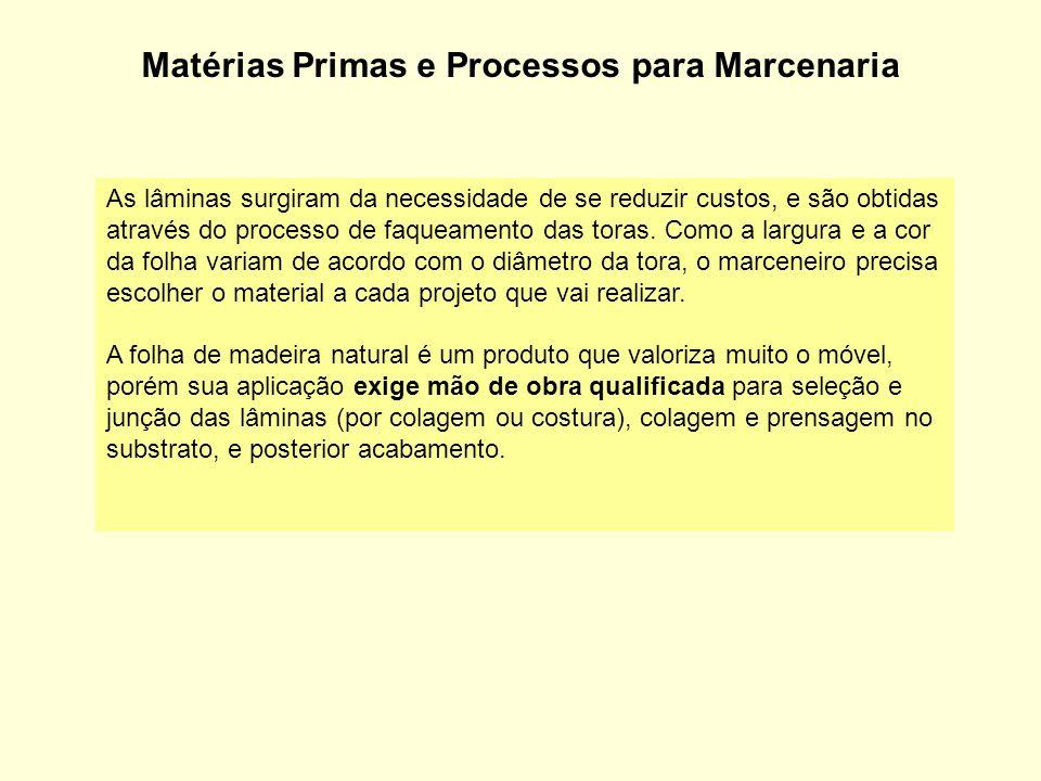 Matérias Primas e Processos para Marcenaria As lâminas surgiram da necessidade de se reduzir custos, e são obtidas através do processo de faqueamento