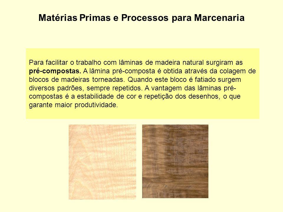 Matérias Primas e Processos para Marcenaria Para facilitar o trabalho com lâminas de madeira natural surgiram as pré-compostas. A lâmina pré-composta