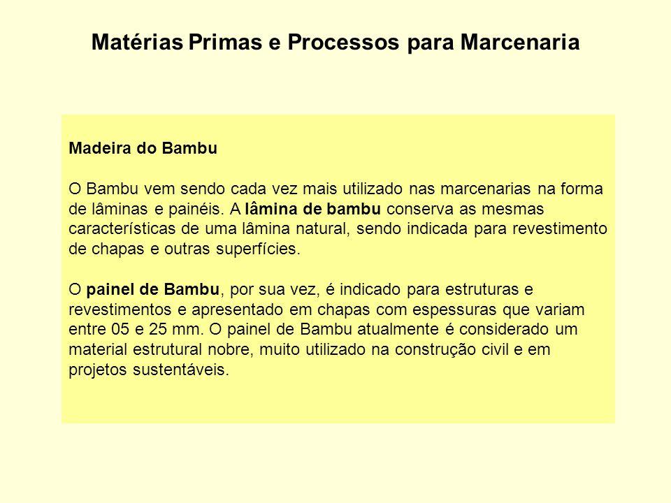 Matérias Primas e Processos para Marcenaria Madeira do Bambu O Bambu vem sendo cada vez mais utilizado nas marcenarias na forma de lâminas e painéis.