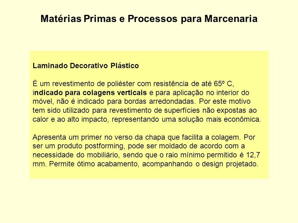 Matérias Primas e Processos para Marcenaria Laminado Decorativo Plástico É um revestimento de poliéster com resistência de até 65º C, indicado para co