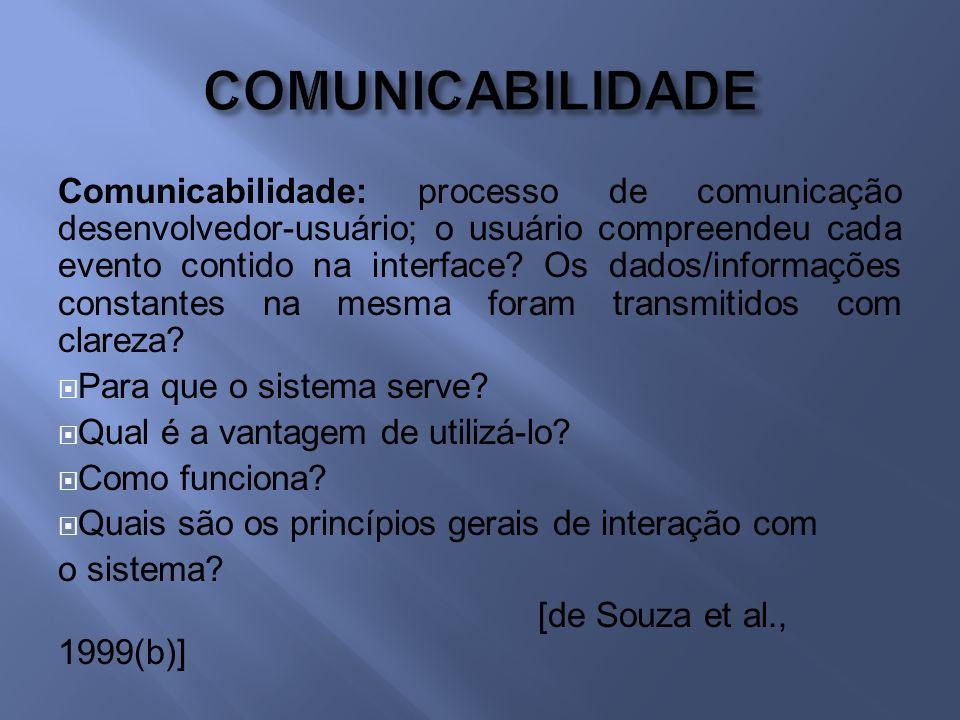 Comunicabilidade: processo de comunicação desenvolvedor-usuário; o usuário compreendeu cada evento contido na interface.