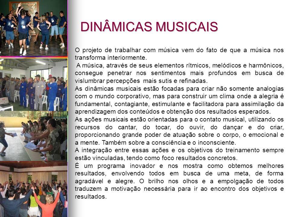 DINÂMICAS MUSICAIS O projeto de trabalhar com música vem do fato de que a música nos transforma interiormente. A música, através de seus elementos rít