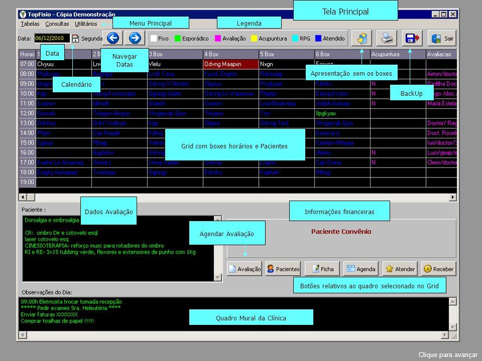 Legenda Navegar Datas Data Calendário Menu Principal Grid com boxes horários e Pacientes Apresentação sem os boxes BackUp Informações financeiras Dados Avaliação Botões relativos ao quadro selecionado no Grid Quadro Mural da Clínica Agendar Avaliação Clique para avançar Tela Principal