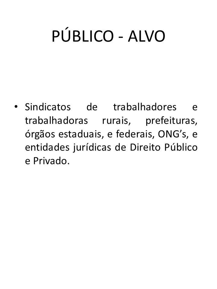 PÚBLICO - ALVO Sindicatos de trabalhadores e trabalhadoras rurais, prefeituras, órgãos estaduais, e federais, ONGs, e entidades jurídicas de Direito P