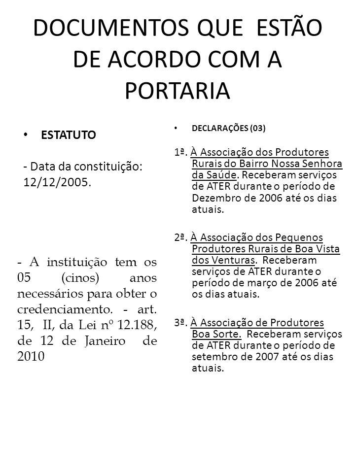 DOCUMENTOS QUE ESTÃO DE ACORDO COM A PORTARIA ESTATUTO - Data da constituição: 12/12/2005. DECLARAÇÕES (03) 1ª. À Associação dos Produtores Rurais do