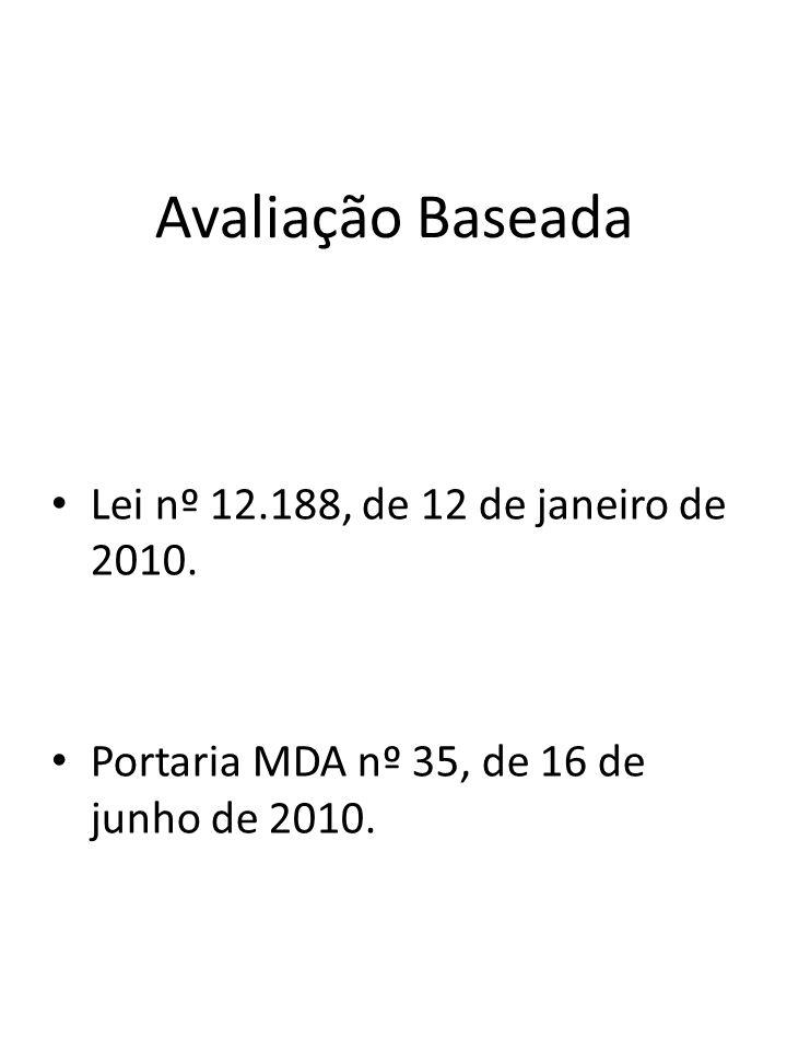 Avaliação Baseada Lei nº 12.188, de 12 de janeiro de 2010. Portaria MDA nº 35, de 16 de junho de 2010.