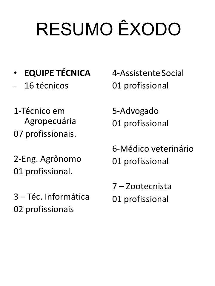 EQUIPE TÉCNICA -16 técnicos 1-Técnico em Agropecuária 07 profissionais. 2-Eng. Agrônomo 01 profissional. 3 – Téc. Informática 02 profissionais 4-Assis