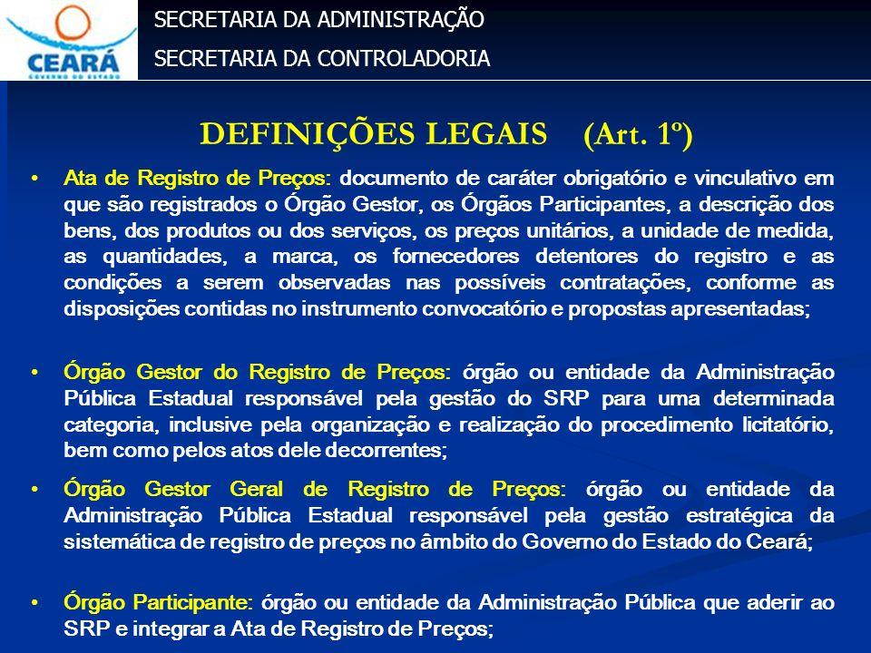 SECRETARIA DA ADMINISTRAÇÃO SECRETARIA DA CONTROLADORIA Ata de Registro de Preços: documento de caráter obrigatório e vinculativo em que são registrad