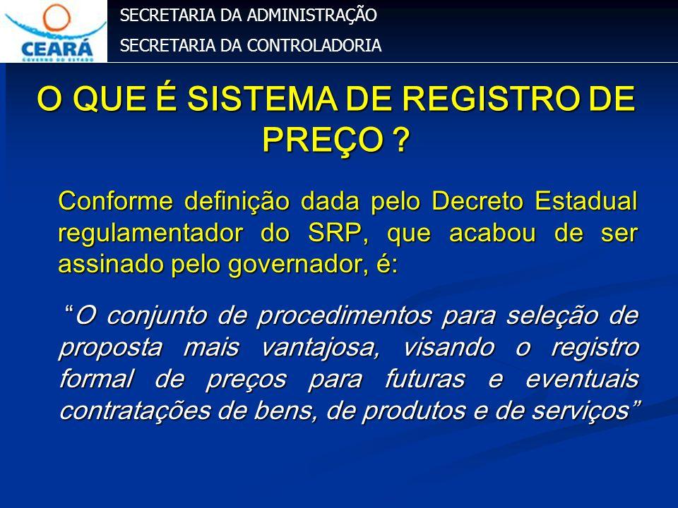 SECRETARIA DA ADMINISTRAÇÃO SECRETARIA DA CONTROLADORIA O QUE É SISTEMA DE REGISTRO DE PREÇO ? Conforme definição dada pelo Decreto Estadual regulamen