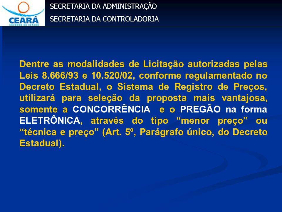 SECRETARIA DA ADMINISTRAÇÃO SECRETARIA DA CONTROLADORIA Dentre as modalidades de Licitação autorizadas pelas Leis 8.666/93 e 10.520/02, conforme regul