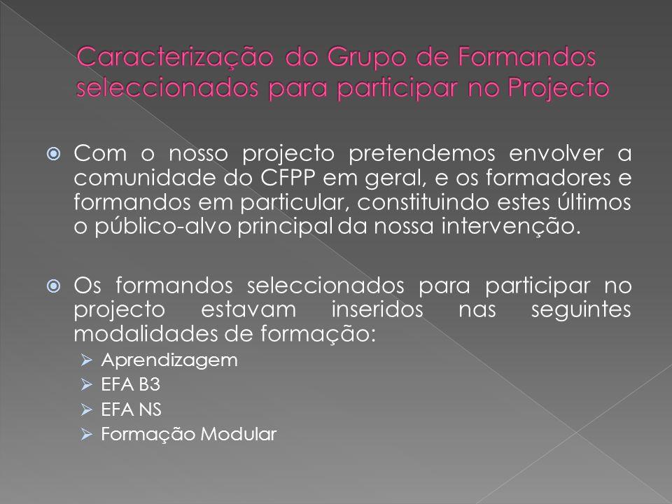 Com o nosso projecto pretendemos envolver a comunidade do CFPP em geral, e os formadores e formandos em particular, constituindo estes últimos o público-alvo principal da nossa intervenção.
