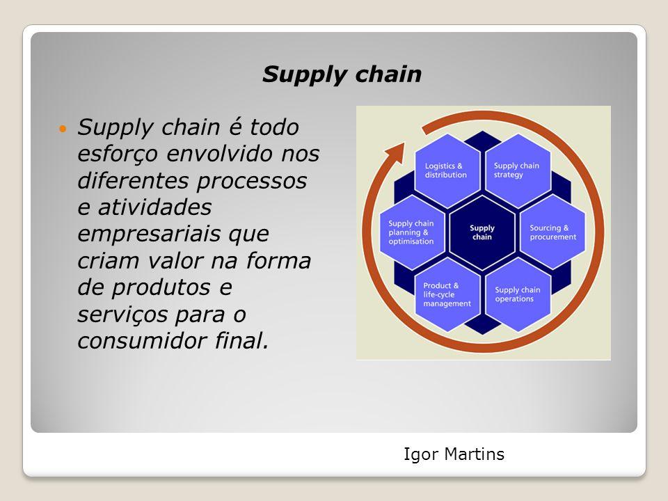 Supply chain Supply chain é todo esforço envolvido nos diferentes processos e atividades empresariais que criam valor na forma de produtos e serviços