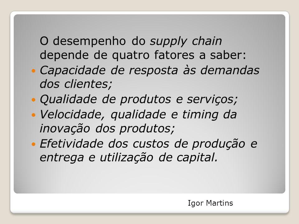 O desempenho do supply chain depende de quatro fatores a saber: Capacidade de resposta às demandas dos clientes; Qualidade de produtos e serviços; Vel