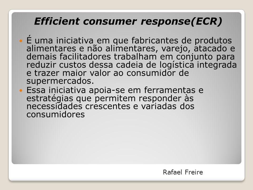 Efficient consumer response(ECR) É uma iniciativa em que fabricantes de produtos alimentares e não alimentares, varejo, atacado e demais facilitadores