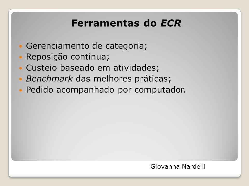 Ferramentas do ECR Gerenciamento de categoria; Reposição contínua; Custeio baseado em atividades; Benchmark das melhores práticas; Pedido acompanhado