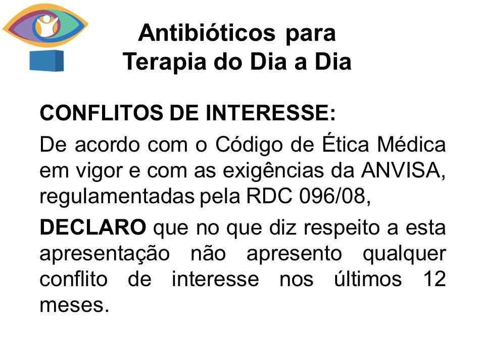 CONFLITOS DE INTERESSE: De acordo com o Código de Ética Médica em vigor e com as exigências da ANVISA, regulamentadas pela RDC 096/08, DECLARO que no
