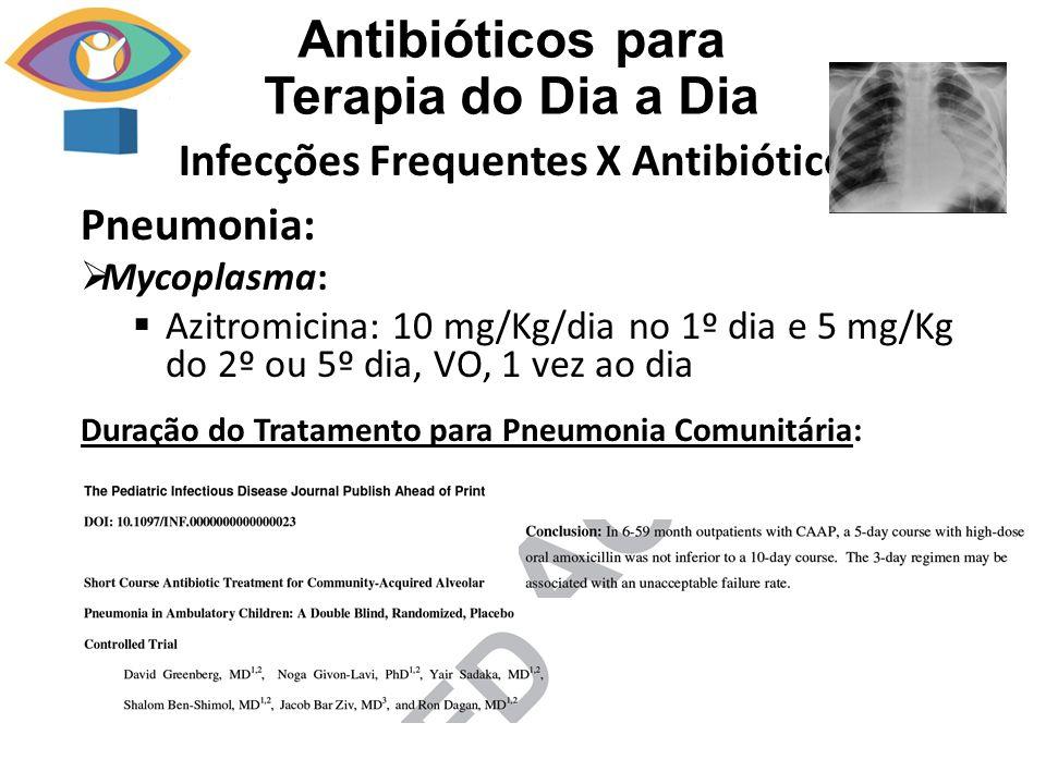 Infecções Frequentes X Antibiótico Antibióticos para Terapia do Dia a Dia Pneumonia: Mycoplasma: Azitromicina: 10 mg/Kg/dia no 1º dia e 5 mg/Kg do 2º