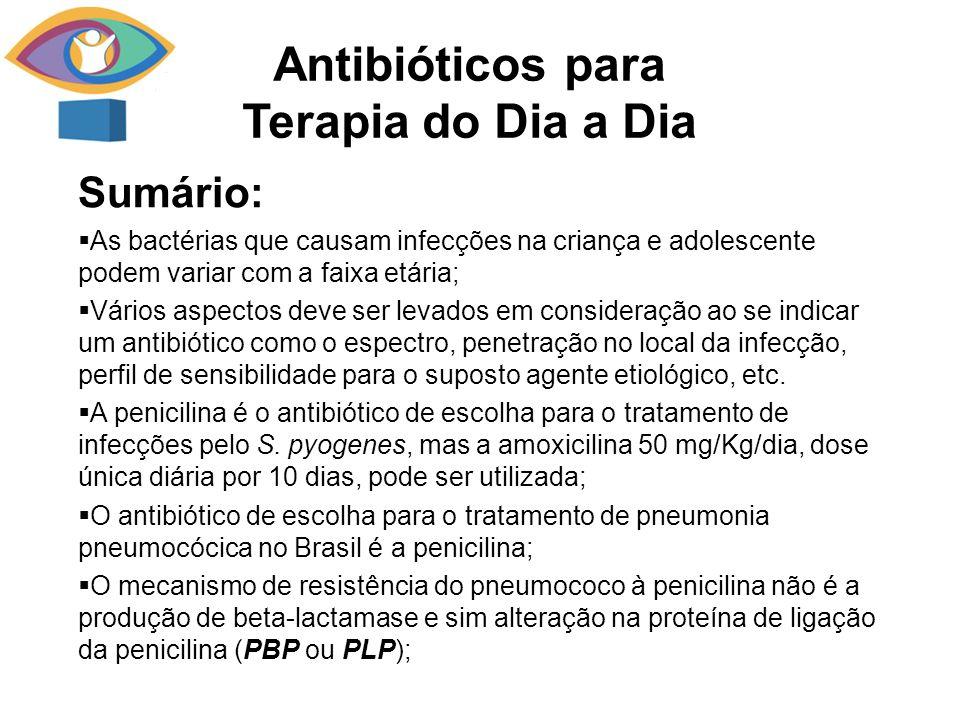 Sumário: As bactérias que causam infecções na criança e adolescente podem variar com a faixa etária; Vários aspectos deve ser levados em consideração ao se indicar um antibiótico como o espectro, penetração no local da infecção, perfil de sensibilidade para o suposto agente etiológico, etc.
