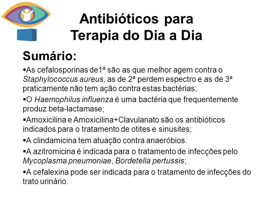 Sumário: As cefalosporinas de1ª são as que melhor agem contra o Staphylococcus aureus, as de 2ª perdem espectro e as de 3ª praticamente não tem ação contra estas bactérias; O Haemophilus influenza é uma bactéria que frequentemente produz beta-lactamase; Amoxicilina e Amoxicilina+Clavulanato são os antibióticos indicados para o tratamento de otites e sinusites; A clindamicina tem atuação contra anaeróbios.