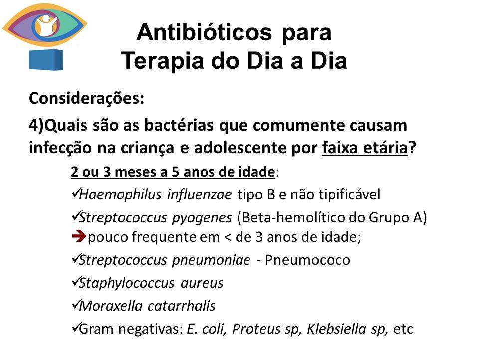 Considerações: 4)Quais são as bactérias que comumente causam infecção na criança e adolescente por faixa etária? 2 ou 3 meses a 5 anos de idade: Haemo