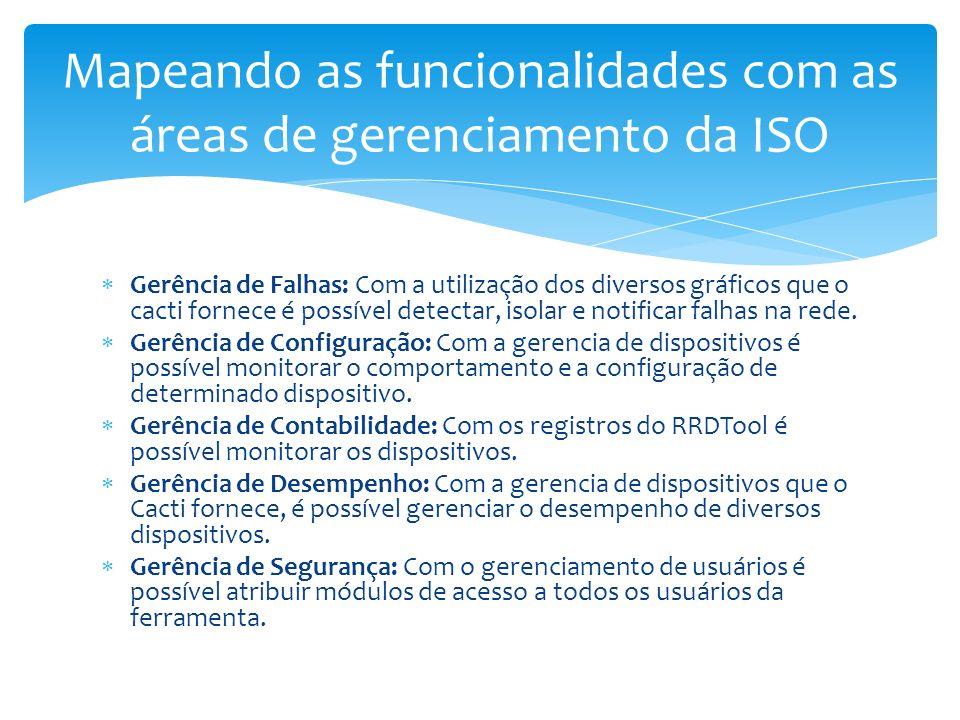 Gerência de Falhas: Com a utilização dos diversos gráficos que o cacti fornece é possível detectar, isolar e notificar falhas na rede. Gerência de Con