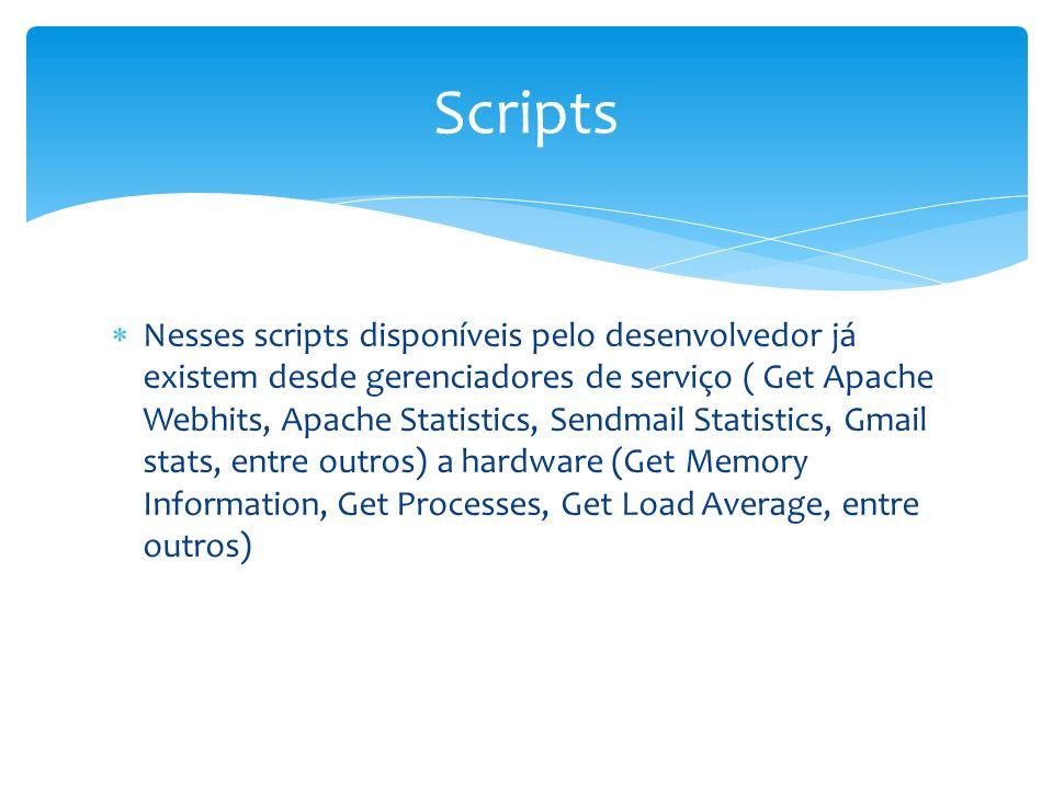 Nesses scripts disponíveis pelo desenvolvedor já existem desde gerenciadores de serviço ( Get Apache Webhits, Apache Statistics, Sendmail Statistics,