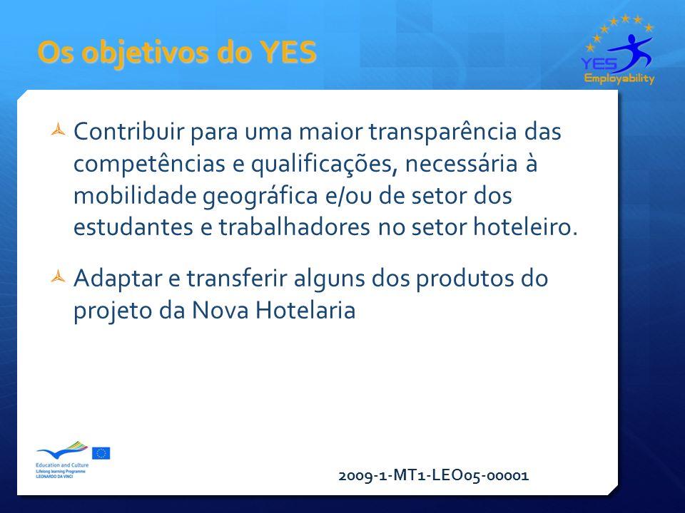 2009-1-MT1-LEO05-00001 Os objetivos do YES Contribuir para uma maior transparência das competências e qualificações, necessária à mobilidade geográfica e/ou de setor dos estudantes e trabalhadores no setor hoteleiro.