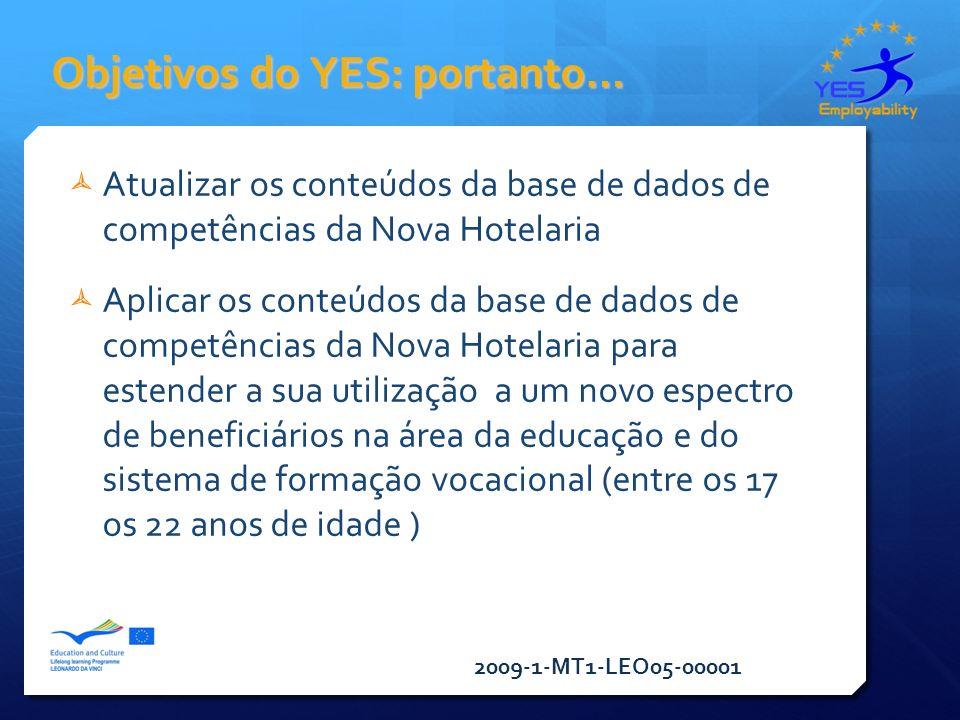 2009-1-MT1-LEO05-00001 Objetivos do YES: portanto… Atualizar os conteúdos da base de dados de competências da Nova Hotelaria Aplicar os conteúdos da base de dados de competências da Nova Hotelaria para estender a sua utilização a um novo espectro de beneficiários na área da educação e do sistema de formação vocacional (entre os 17 os 22 anos de idade )