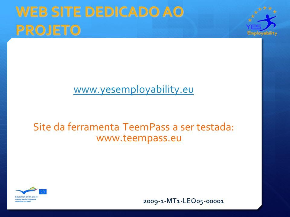 2009-1-MT1-LEO05-00001 WEB SITE DEDICADO AO PROJETO www.yesemployability.eu Site da ferramenta TeemPass a ser testada: www.teempass.eu
