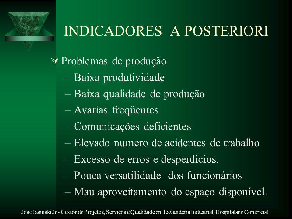 José Jasinski Jr - Gestor de Projetos, Serviços e Qualidade em Lavanderia Industrial, Hospitalar e Comercial INDICADORES A POSTERIORI Problemas de pro