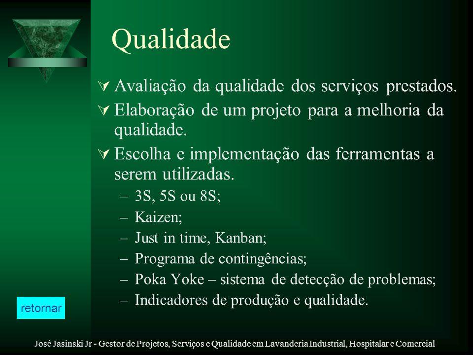José Jasinski Jr - Gestor de Projetos, Serviços e Qualidade em Lavanderia Industrial, Hospitalar e Comercial Qualidade Avaliação da qualidade dos serv