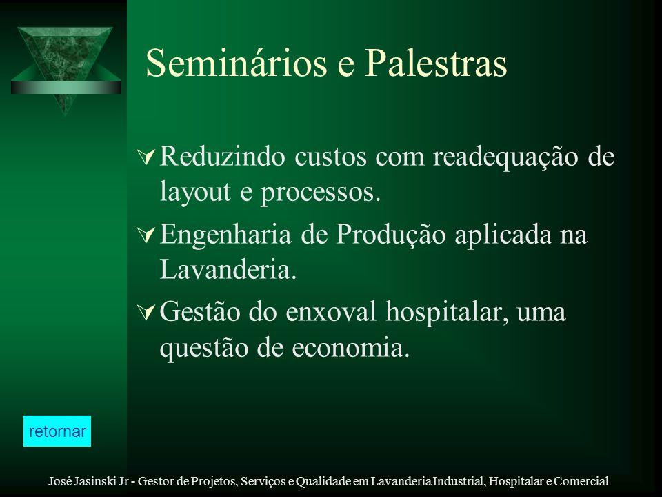 José Jasinski Jr - Gestor de Projetos, Serviços e Qualidade em Lavanderia Industrial, Hospitalar e Comercial Seminários e Palestras Reduzindo custos c