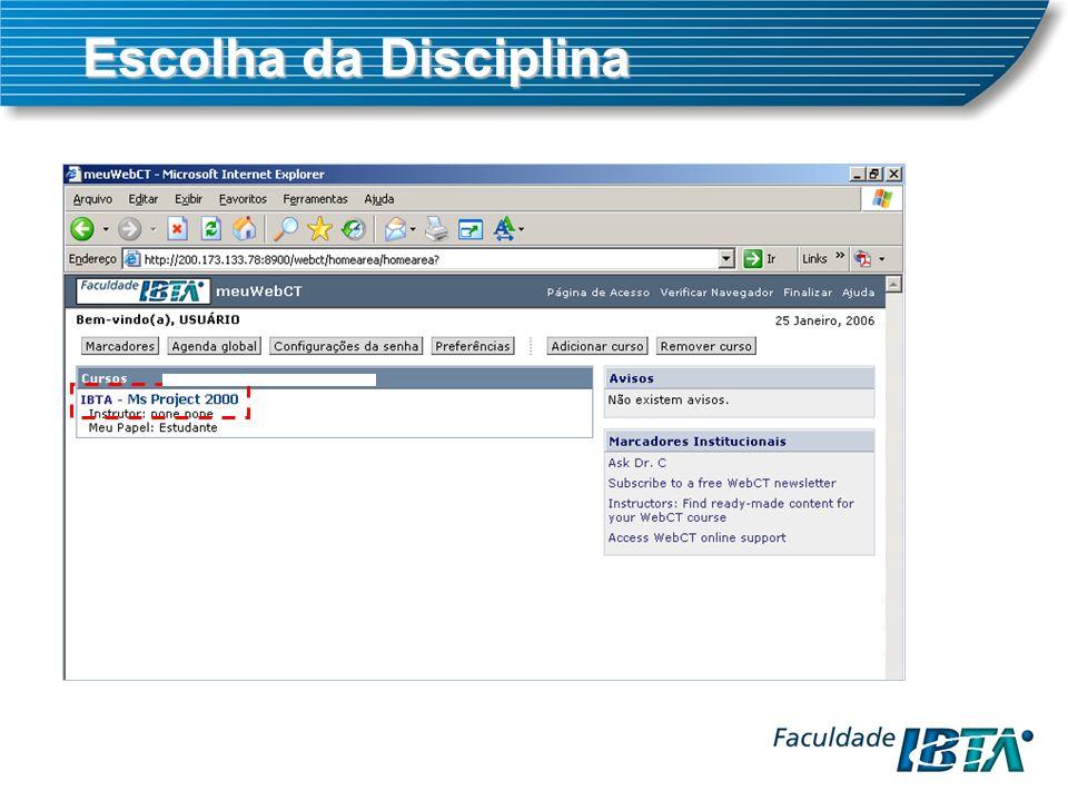 Escolha da Disciplina