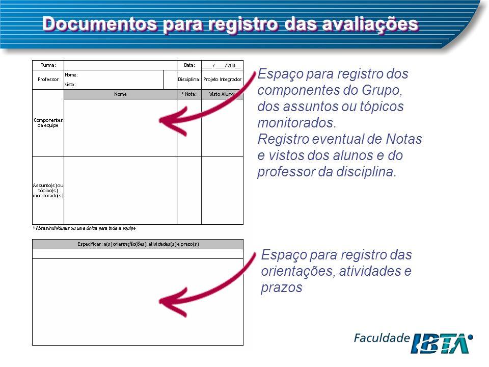 Documentos para registro das avaliações Espaço para registro dos componentes do Grupo, dos assuntos ou tópicos monitorados. Registro eventual de Notas