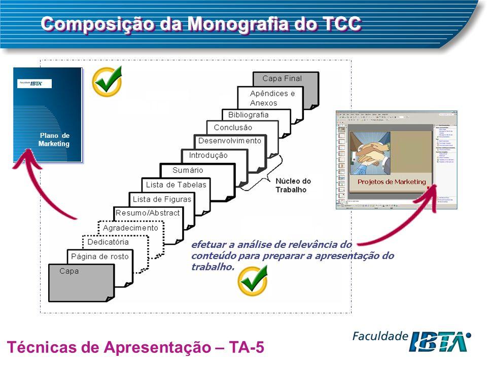 Plano de Marketing Composição da Monografia do TCC Técnicas de Apresentação – TA-5 efetuar a análise de relevância do conteúdo para preparar a apresentação do trabalho.