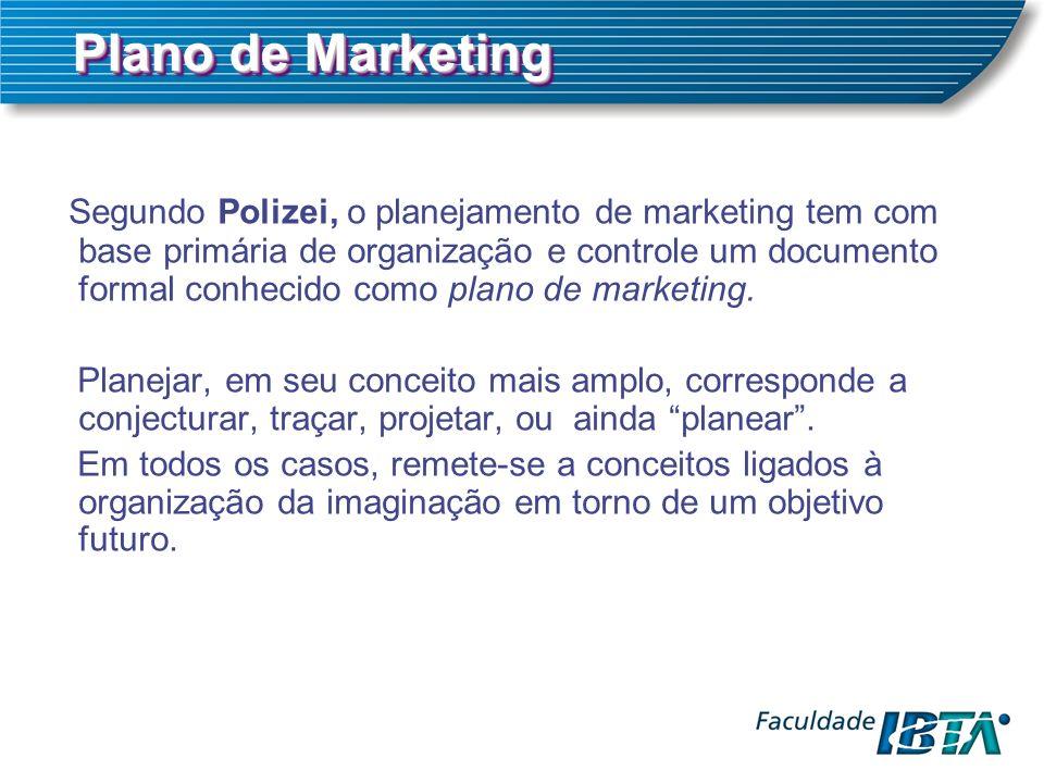 Plano de Marketing Segundo Polizei, o planejamento de marketing tem com base primária de organização e controle um documento formal conhecido como plano de marketing.