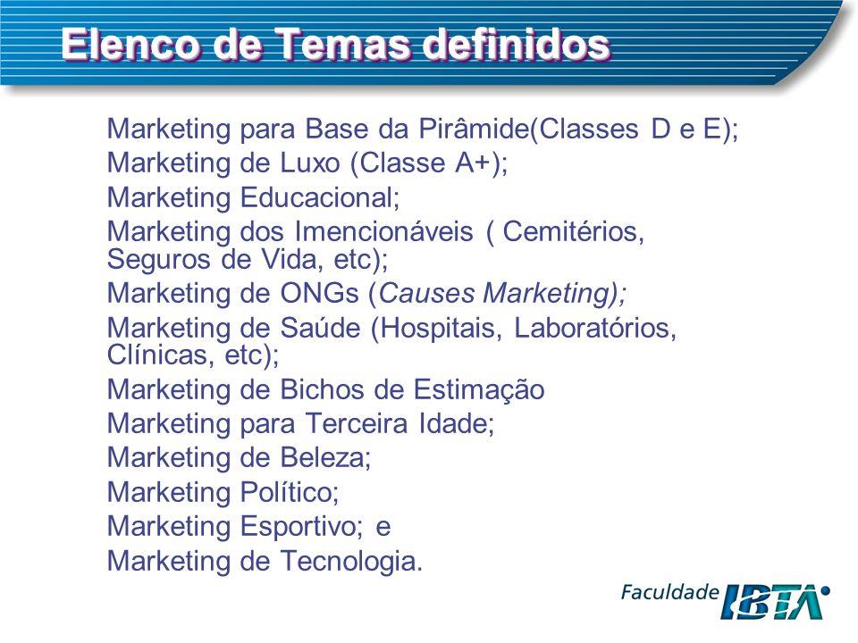 Elenco de Temas definidos Marketing para Base da Pirâmide(Classes D e E); Marketing de Luxo (Classe A+); Marketing Educacional; Marketing dos Imencionáveis ( Cemitérios, Seguros de Vida, etc); Marketing de ONGs (Causes Marketing); Marketing de Saúde (Hospitais, Laboratórios, Clínicas, etc); Marketing de Bichos de Estimação Marketing para Terceira Idade; Marketing de Beleza; Marketing Político; Marketing Esportivo; e Marketing de Tecnologia.
