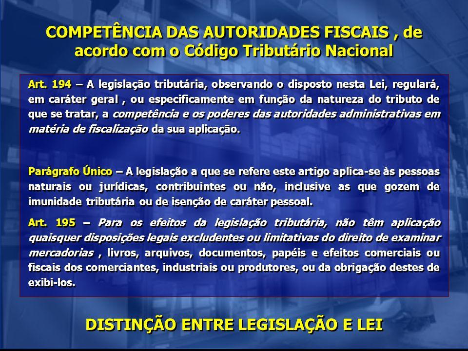 COMPETÊNCIA DAS AUTORIDADES FISCAIS, de acordo com o Código Tributário Nacional Art. 194 – A legislação tributária, observando o disposto nesta Lei, r