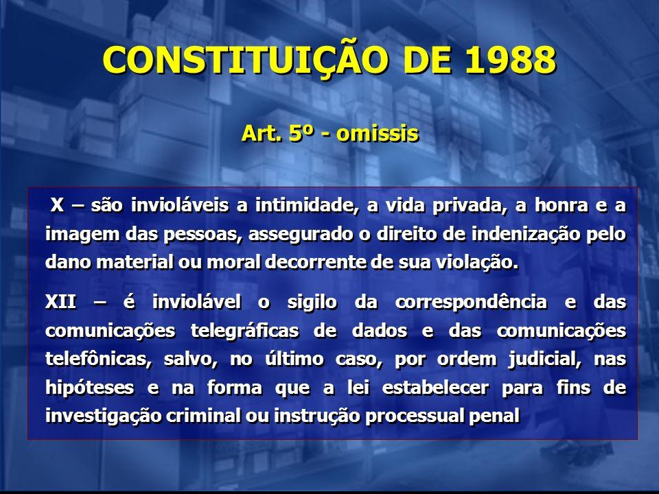 CONSTITUIÇÃO DE 1988 Art. 5º - omissis X – são invioláveis a intimidade, a vida privada, a honra e a imagem das pessoas, assegurado o direito de inden