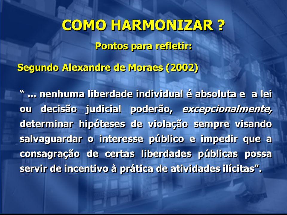 COMO HARMONIZAR ? Pontos para refletir: Segundo Alexandre de Moraes (2002) Pontos para refletir: Segundo Alexandre de Moraes (2002)... nenhuma liberda